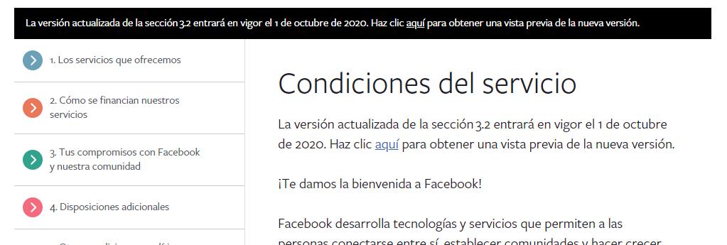 Condiciones Facebook